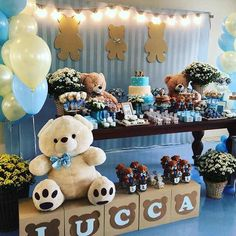 Baby shower table decoration More than 25 fantastic ideas Baby Shower Brunch, Baby Shower Cakes, Baby Shower Themes, Baby Boy Shower, Shower Ideas, Baby Shower Table Decorations, Baby Shower Centerpieces, Baby Decor, Baby Shower Backdrop