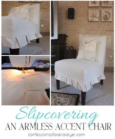 How to Slipcover an Armless Chair - great tutorial with lots of pictures shows how this was made from a drop cloth.