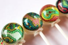 Pretty patterns series - Paisley pattern - ball style edible images hard candy lollipop - 6 pc. - MADE TO ORDER. $10.50, via Etsy.