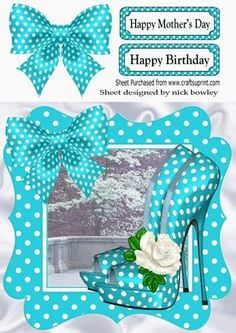 Lovely in turq polka dot shoes bow and frame 8x8 on Craftsuprint - Add To Basket!