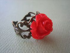 Petite Red Rose Flower Ring  Adjustable Antique Brass by ZARDENIA, $9.00