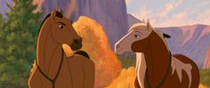 Screencap Gallery for Spirit: Stallion of the Cimarron Bluray, Dreamworks). The mustang stallion Spirit grows up to proudly succeed his father as leader of the Cimarron herd in the unspoiled Wild West. Dreamworks Animation, Disney And Dreamworks, Disney Animation, Disney Pixar, Spirit The Horse, Spirit And Rain, Caballo Spirit, Spirit Drawing, Childhood Movies