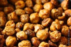 Roasted Chickpea Snack Recipe Lunch and Snacks with chickpeas, olive oil spray, salt, chili pepper, cumin, paprika, coriander, curry powder, garlic powder