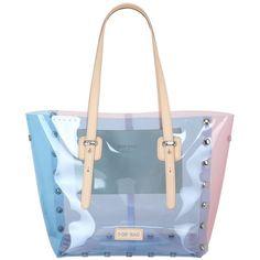 Pop Bag By J&c Women Medi Crystal Transparent Pvc Tote Bag (1 335 SEK) ❤ liked on Polyvore featuring bags, handbags, tote bags, handbags totes, blue handbags, crystal purse, blue tote handbags and blue purse