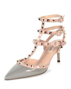 X2TKK Valentino Rockstud Colorblock Leather Mid-Heel Sandal, Pebble