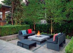 Top 50 Best Patio Firepit Ideas - Glowing Outdoor Space Designs Garden Fire Pit, Fire Pit Backyard, Backyard Patio, Sunken Patio, Patio Bar, Modern Backyard, Fire Pit Landscaping, Landscaping Ideas, Patio Ideas