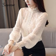 Dingaozlz New style Women lace Tops embossing spliced ear Chiffon shirt High necked Lantern sleeve Casual Ruffles lace blouse Look Fashion, Fashion Outfits, Mode Turban, Looks Chic, Chiffon Shirt, Dress Sewing Patterns, Lace Tops, Classy Outfits, Blouses For Women