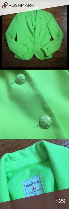 "Gap Neon Green Academy Blazer Gap Neon Green Academy Blazer Color: Neon Green  Size: 2 petite  Bust: 17"" Waist: 15.5"" GAP Jackets & Coats Blazers"