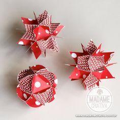 How to make DIY Paper Ball Ornaments - See tutorial with pictures - Como fazer esferas de papel - Passo a Passo com fotos - Madame Criativa - #paperballs #paperornaments #papercraft #paperart #scrapbookingpaper #paper