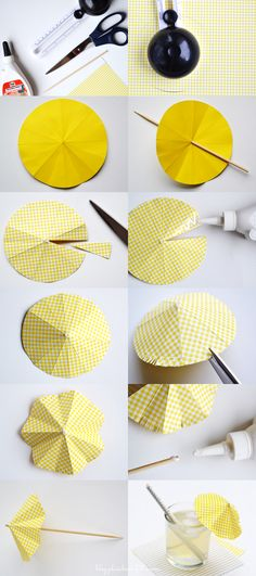 DIY- Drink umbrella tutorial DIY- Sombrilla de papel para decorar bebidas