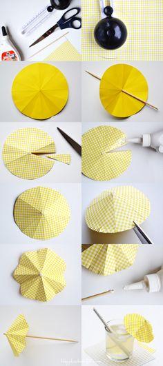 DIY- Drink umbrella tutorial DIY- Sombrilla de papel para decorar bebidas