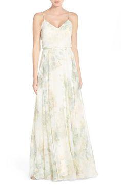Main Image - Jenny Yoo 'Inesse' Print Chiffon V-Neck Spaghetti Strap Gown