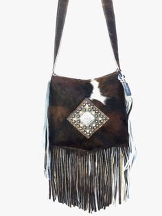 Raviani Western Leather & Hide Cross Body Handbag Purse w/ Fringe & Concho CN2 | eBay