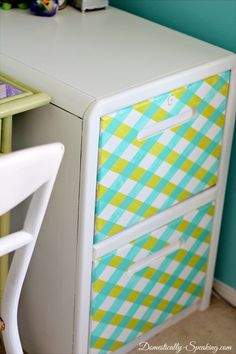 Darling File Cabinet Paint Makeover {with tape!}
