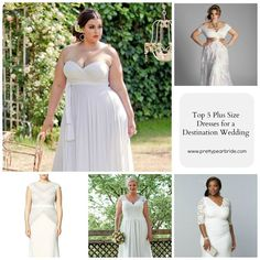 TOP 5 PLUS SIZE WEDDING DRESSES FOR A DESTINATION WEDDING // Shop looks here: http://prettypearbride.com/top-5-plus-size-wedding-dresses-for-a-destination-wedding/ #plussizebride #curvybrides #plussize #bridal #gown
