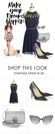 """""""Color Series:  Navy Dress"""" by briannaandrews500 ❤ liked on Polyvore featuring Jimmy Choo, Michael Kors, women's clothing, women's fashion, women, female, woman, misses and juniors"""