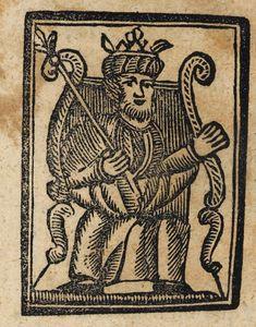 Xilografía de un hombre sentado en un trono con corona y cetro.