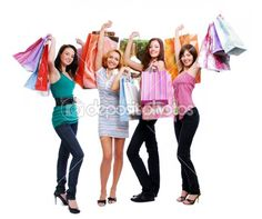 Fun beauty girls out shopping by Vitaly Valua - Lizenzfreies Foto