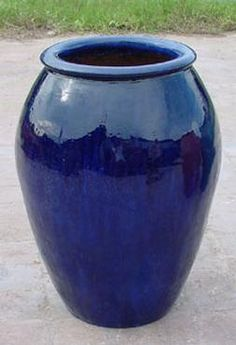 Large Glazed Ceramic Water Jar Blue Green Black Or Brown Hand Resulting In