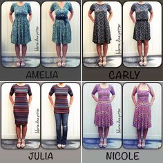 How to style your Lularoe. LLR Dina Potter. Amelia Dress 2 ways. Carly belted. Julia with jeans. Nicole worn as a halter. Get the most out of your Lula, join Dina! She's always showing us new ways to style.