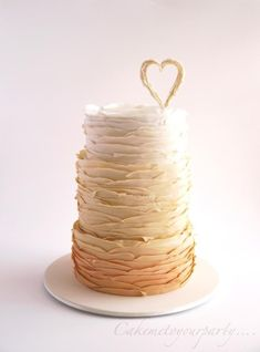 Torn Ruffle Wedding Cake - Cake by Leah Jeffery