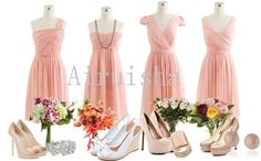 Blush simple style silk chiffon bridesmaid dresses... in LOVE - pink bridesmaid dress (in different styles too so bridesmaid can decide which would look better with their body type) with nude heels!