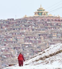 Japanese photographer Shinya Itahana, 33, visited the Larung Gar Valley a number of times to capture the eye-catching town in both summer and winter