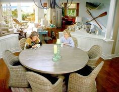 grace and frankie beach house dining room with wall oars and hanging whale shop the - Beach Decor Shop