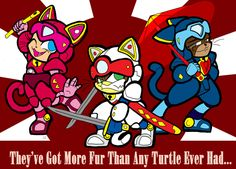 Weekly Tee- Samurai Pizza Cats by LillyKitten. L-R: Poly Ester, Speedy Cerviche and Guido Anchovy.