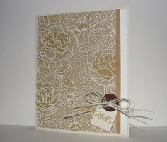 Perhaps my most favourite card yet, Barb Engler created this soft and pretty card with white embossing on kraft cardstock. The shading on the flower centers is picture-perfect.