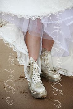 DOC MARTIN BOOTS FOR CATHERINE'S WEDDING TO GARY AT TYNEMOTH , NORTH EAST ENGLAND