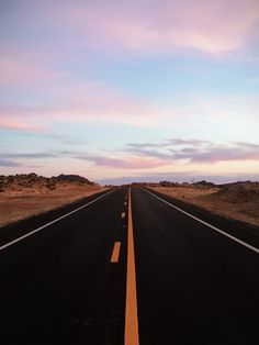 Into the pink #desert #road #empty #arizona #pink #clouds