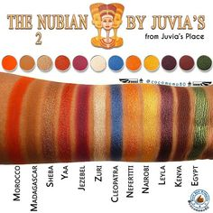 The Nubian 2 by Juvia's (Juvia's Place) 2nd Edition Palette: Swatches (on dark skin) @cocomomo80