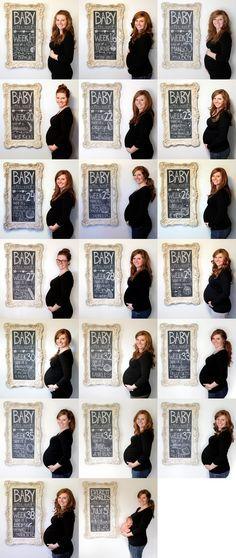 Eine Reise durch die Schwangerschaft. Was man braucht: Kreide, einen Rahmen und gute Laune!