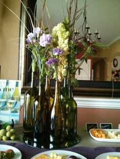 Wine bottle center piece