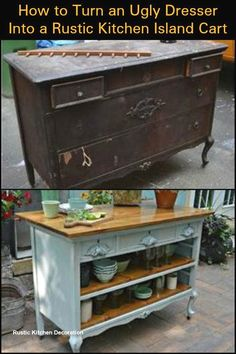 - Furniture for Kitchen - Create Extra Storage and Counter Space by Turning an Ugly Dresser into a Rustic . Create Extra Storage and Counter Space by Turning an Ugly Dresser into a Rustic Kitchen Island Cart by lucinda. Upcycled Furniture, Rustic Furniture, Furniture Makeover, Diy Home Decor, Furniture Projects, Recycled Furniture, Diy Furniture, Rustic Kitchen Island, Redo Furniture