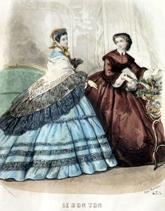 1862 Civil War Era FRENCH FASHIONS ENGRAVING Handcolored Original Bon Ton 1800s #Realism