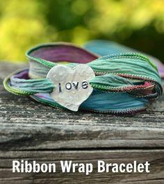 Ribbon Wrap Bracelet - One Artsy Mama Ribbon Jewelry, Metal Jewelry, Beaded Jewelry, Jewlery, Diy Jewelry, Jewelry Making, Jewelry Ideas, Jewelry Necklaces, Silk Wrap Bracelets