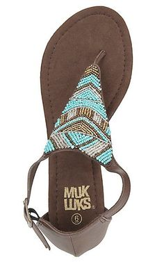 Muk Luk Women's Brown with Turquoise and White Beading Zena Sandal | Cavender's