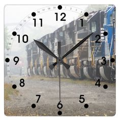 Railroad Locomotives In The Mist Wall Clocks :: $28.95 - #stanrail - It's time to show off your favorite art, photos, and text with a custom square wall clock from Zazzle. Made for any wall, this clock is vibrantly printed with AcryliPrint®HD process to ensure the highest quality display of any content. Order this custom square wall clock for your home or give to friends and family as a gift for a timeless treasure.