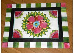 Suzani Inspired Floor Cloth by GreeneCountyFlorist on Etsy