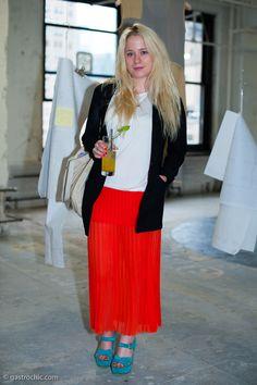 Tomato Red Maxi Skirt, Parsons MFA