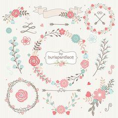 Hochzeit BlumenKranzClipArt Hand illustriert von 1burlapandlace