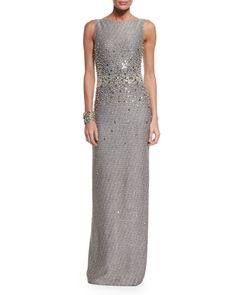 -65ZY St. John Collection Bauble Knit Embellished Column Gown, Crystal Stud Earrings & Pearly and Multi Tonal Crystal Cuff Bracelet