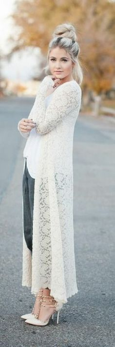 White Lace Dress! Where oh where can I find this all white lace dress. I love the way it's draped over her jeans and top