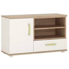 4KIDS 1 door 1 drawer TV/HI FI cabinet in light oak and white high gloss with lemon handles -  perfect for all age groups, finished in light oak and stunning white high gloss. For TV or Hi Fi this unit has 1 door and 1 drawer for storage, and open shelving for latest accessories.
