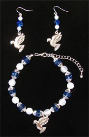 ZETA PHI BETA SORORITY INC crystal Dove earrings & bracelet sold separately