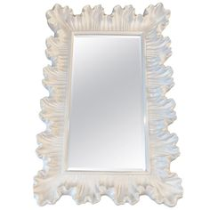 For Sale on - Beautiful vintage ruffle scallop wall mirror. Newly lacquered in a gloss white finish. This can be hung vertical or horizontal. Mirror Wall, Vintage Walls, Vintage, White Gloss, Bamboo Wall, Faux Bamboo, Wall, Large Vintage Mirror, Living Room Designs