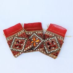Small Red Stone Work Potli (Pack of 6) (Click To Buy | Only Rs 450)