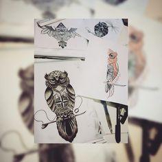 Búhos boceto
